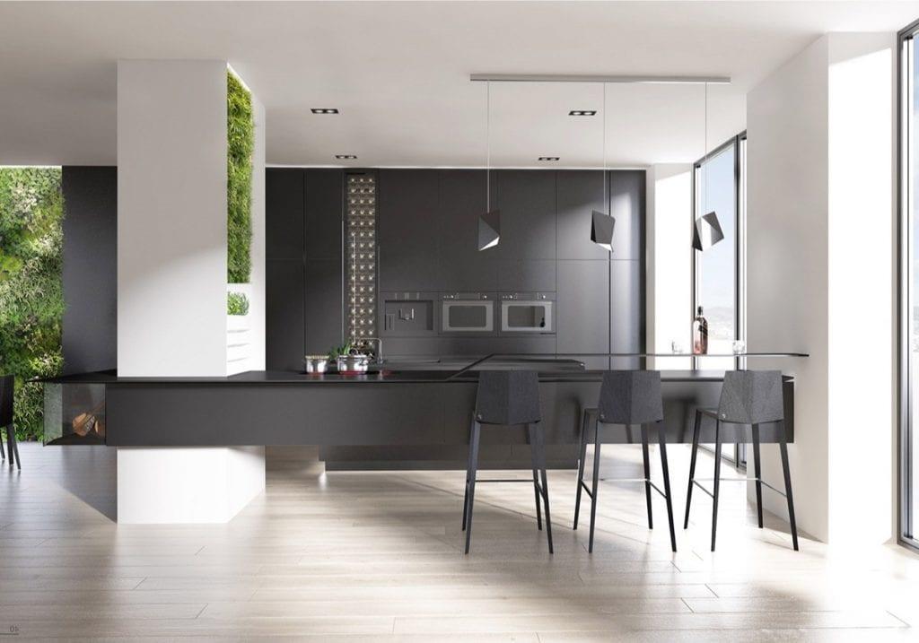 nội thất màu xám phòng bếp