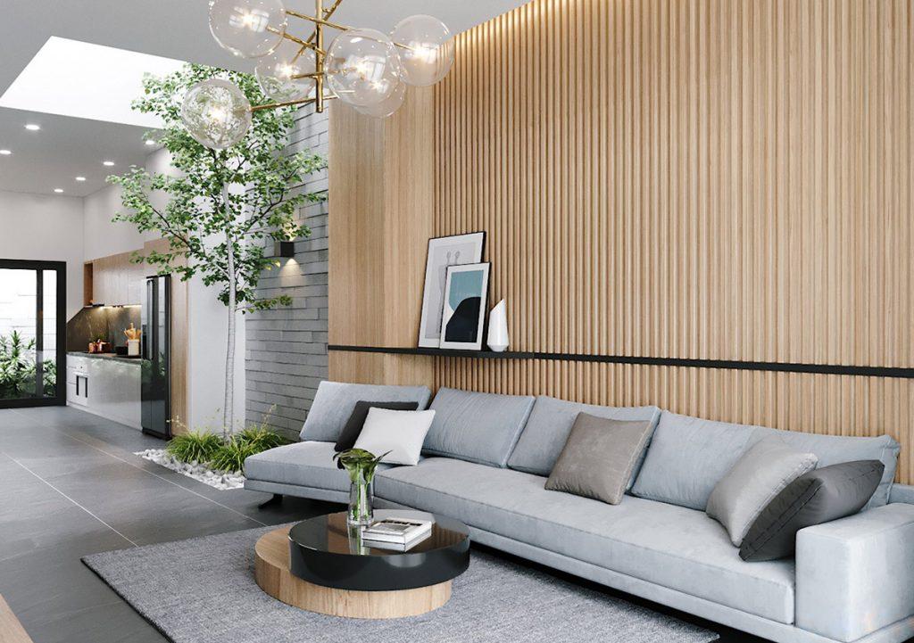 thiết kế phòng khách nhà ống 4m