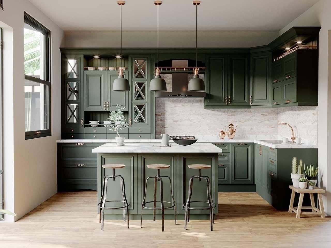 Một thiết kế mang hơi hướng cổ điển với sắc xanh dịu dàng