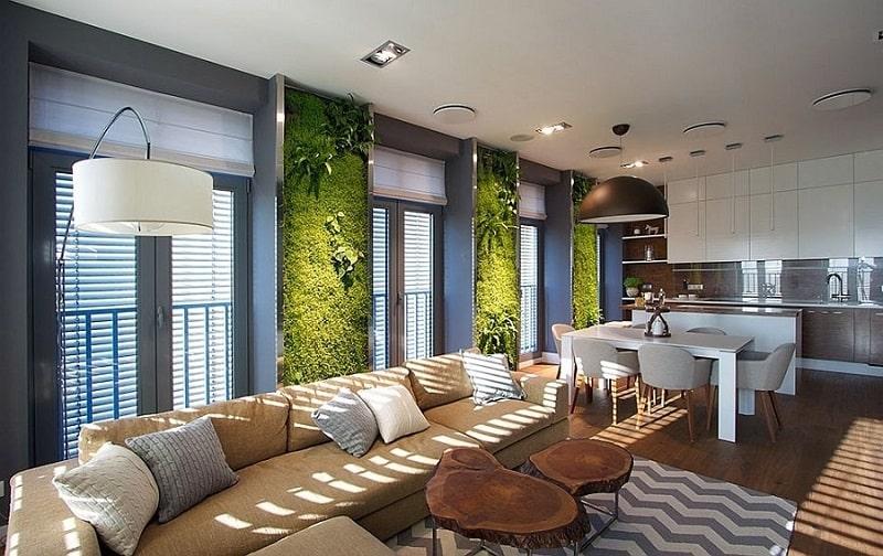 Không gian nội thất phòng khách theo phong cách Eco