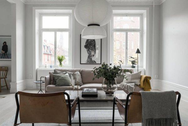 Nội thất phòng khách theo phong cách Swedish