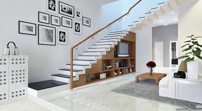 Bố trí cầu thang nhà ống dọc bên trái và đi ngang qua phòng khách