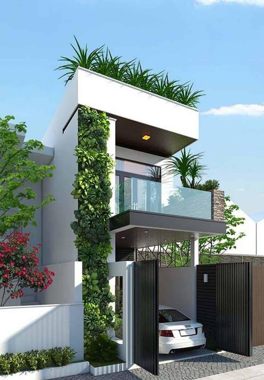 Nhà mặt tiền 5m hiện đại khác biệt, hài hòa với thiên nhiên. Màu sắc chủ đạo là màu trắng