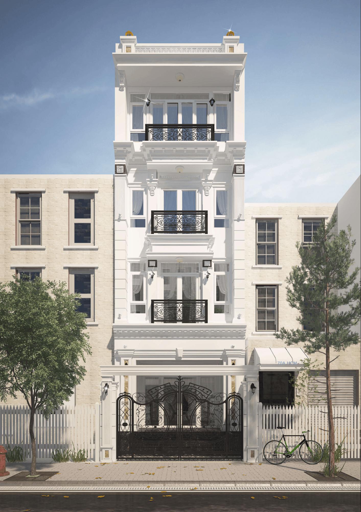 Nhà mặt tiền 5m tân cổ điển với tông màu trắng đen