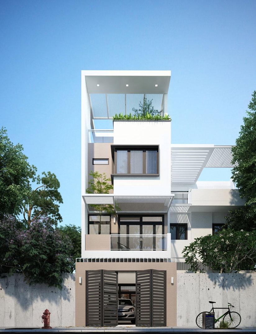 Gara rộng rãi kết hợp với nhà mặt tiền 5m hiện đại 4 tầng với màu trắng-be làm màu chủ đạo.