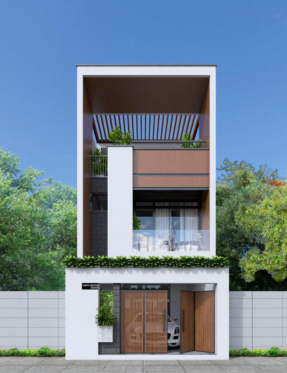 Gara kết hợp với nhà mặt tiền 5m hiện đại 3 tầng có màu nâu làm chủ đạo