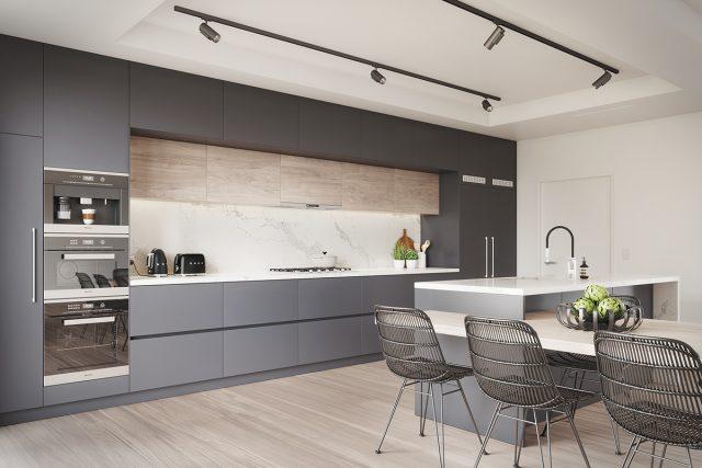 Mẫu 1: thiết kế nhà bếp với màu sắc tương phản