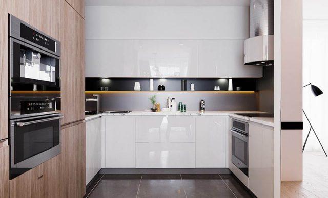 Mẫu 3: nhà bếp đơn giản tiện nghi