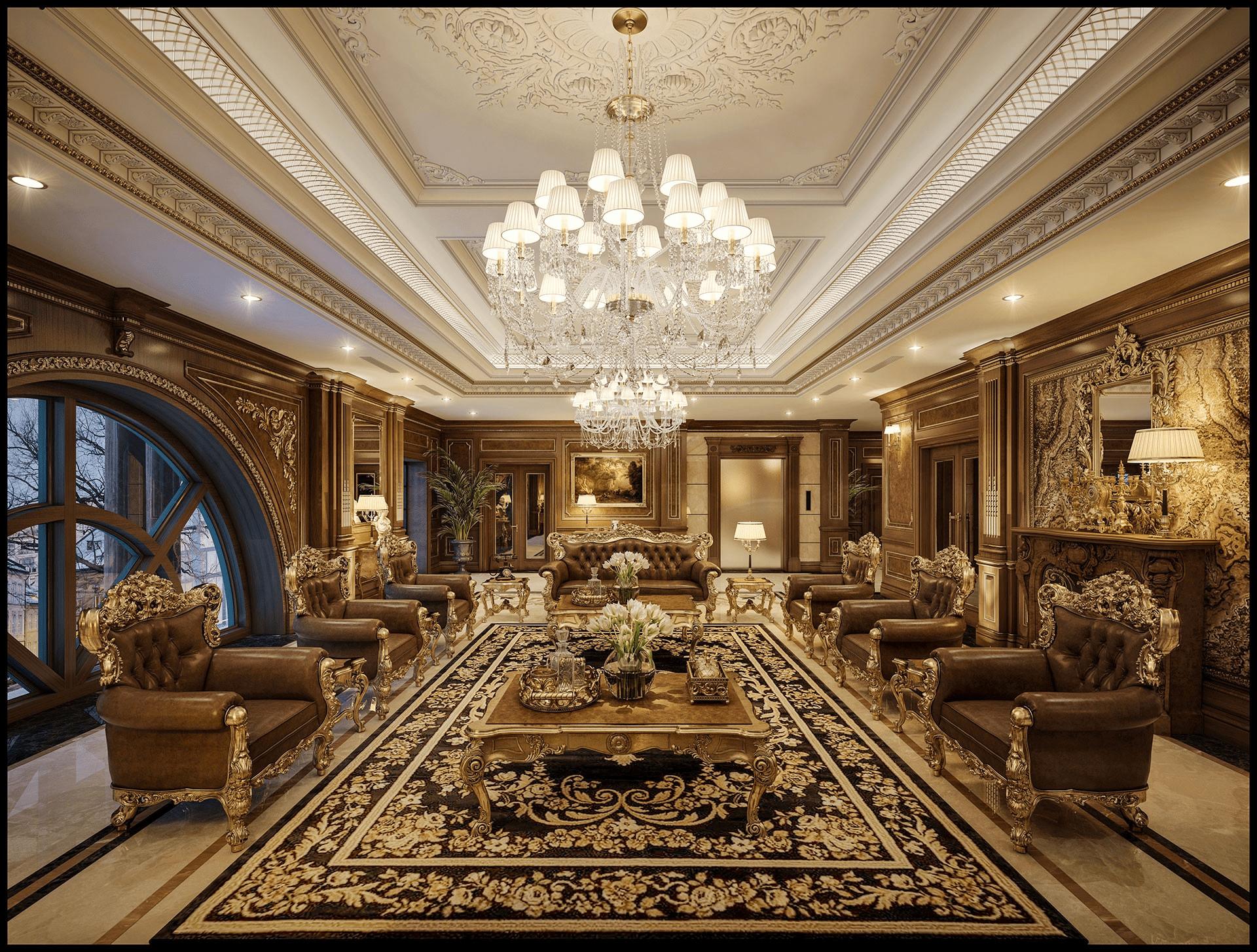 thiết kế nội thất biệt thự cổ điển sang trọng