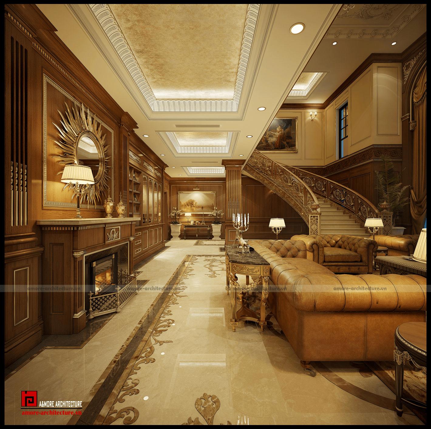 thiết kế nội thất biệt thự cổ điển quý phái