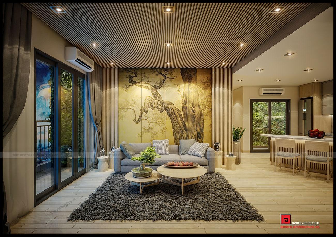 thiết kế nội thất chung cư 2 phòng ngủ sang trọng