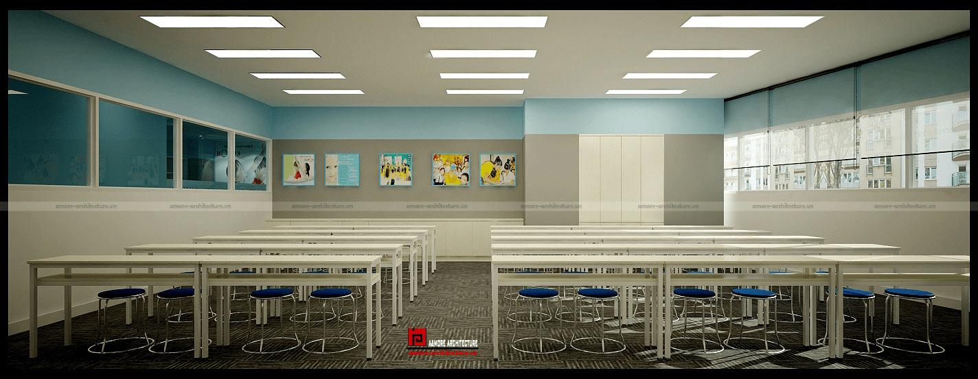 thiết kế nội thất trung tâm ngoại ngữ