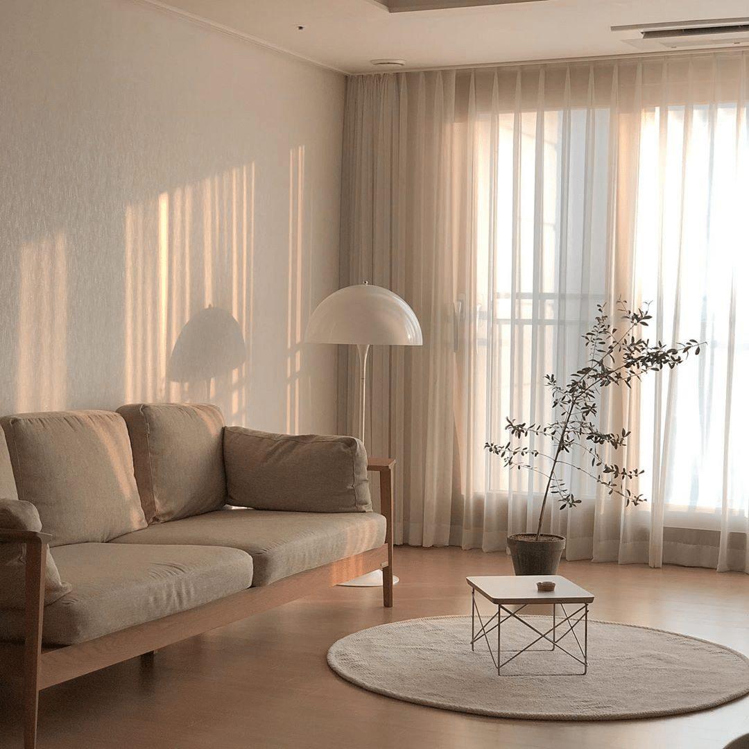 thiết kế phòng khách nhà ống tối giản