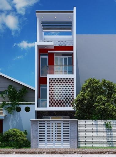 Nhà mặt tiền 5m với những tông màu sắc