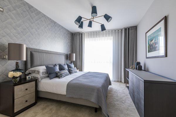 Phòng ngủ 9m2 sử dụng tông màu lạnh