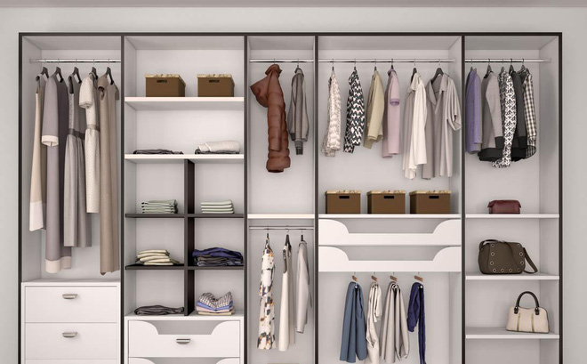 cách sắp xếp tủ quần áo trong phòng ngủ
