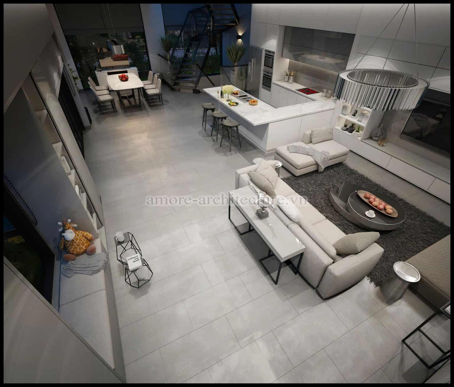 không gian mở phòng khách và bếp