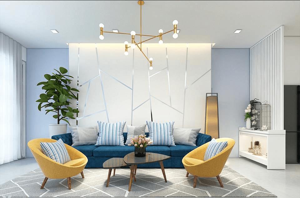 Phòng khách hiện đại với nội thất đơn giản