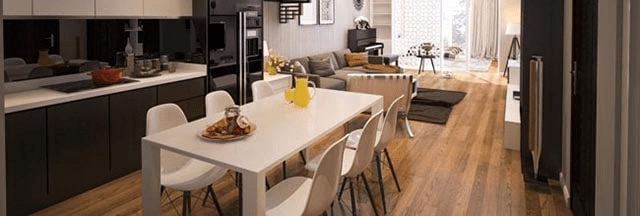 phòng khách liền kề nhà bếp đẹp