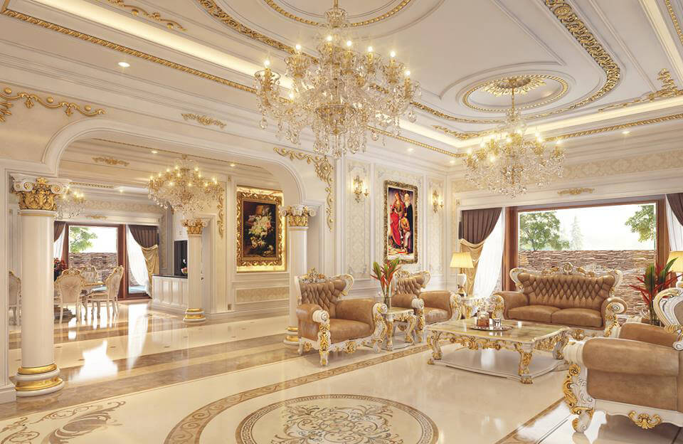 phòng khách cho biệt thự