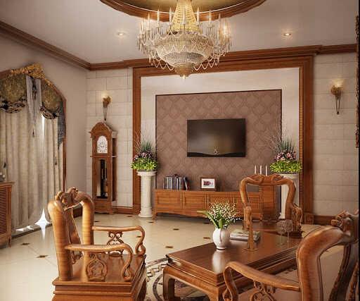phòng khách kiểu Hàn ấm áp