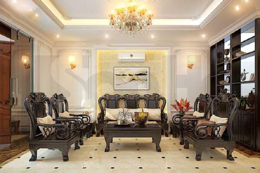 phòng khách Hàn Quốc mang phong cách cổ điển