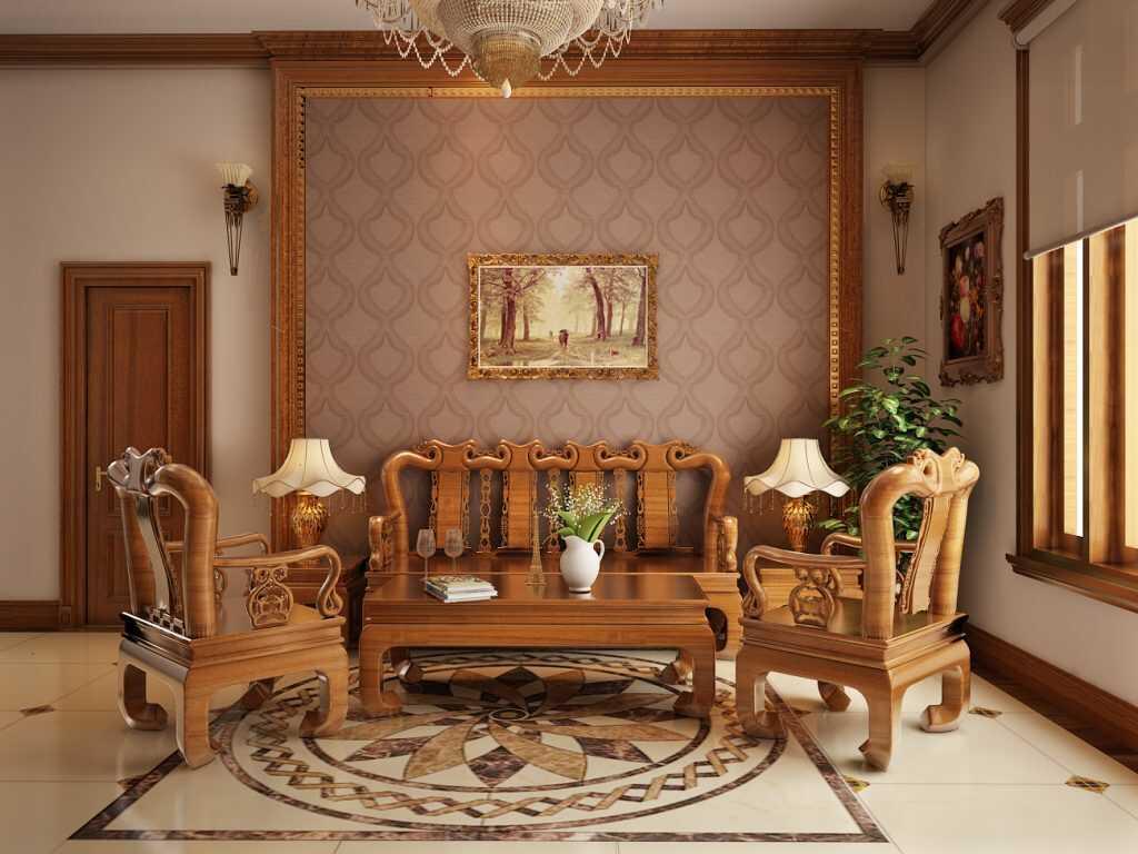 phòng khách gỗ Kiểu Hàn