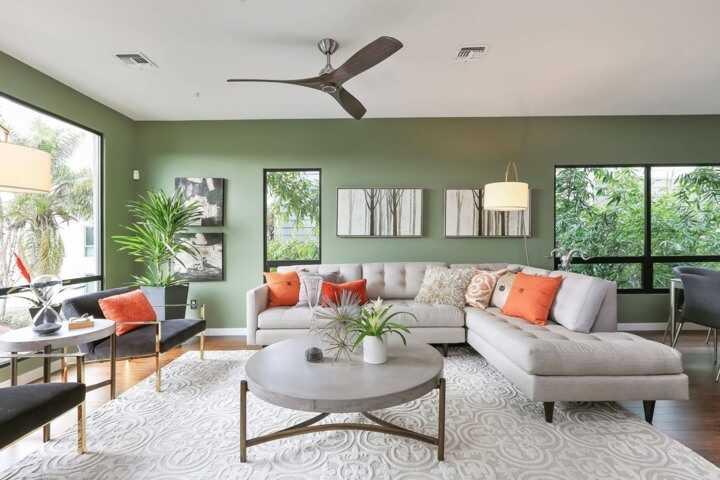 Phòng khách kiểu Hàn màu xanh lá cây