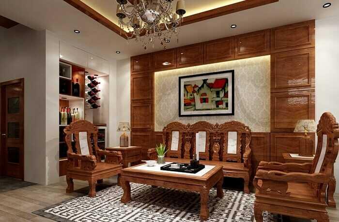 phòng khách Hàn Quốc với nội thất gỗ