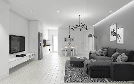 phòng khách sơn màu xám trắng