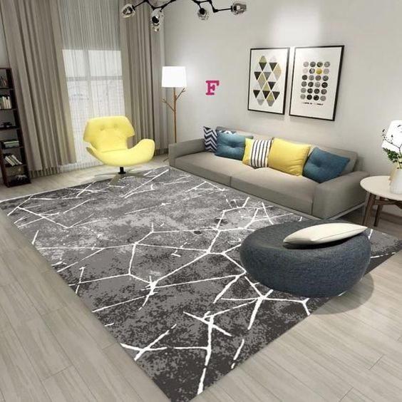 trang trí phòng khách màu xám