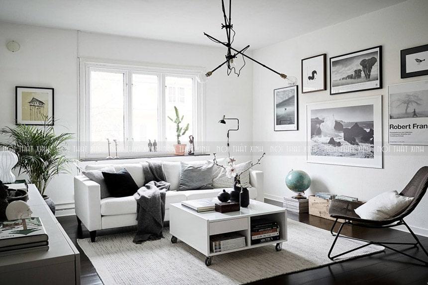 phòng khách màu xám trắng