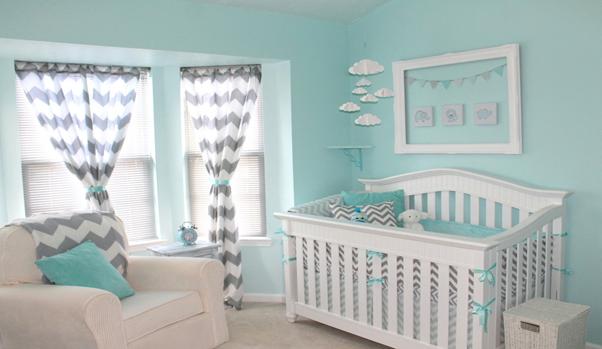 Phòng ngủ màu xanh cho bé sơ sinh