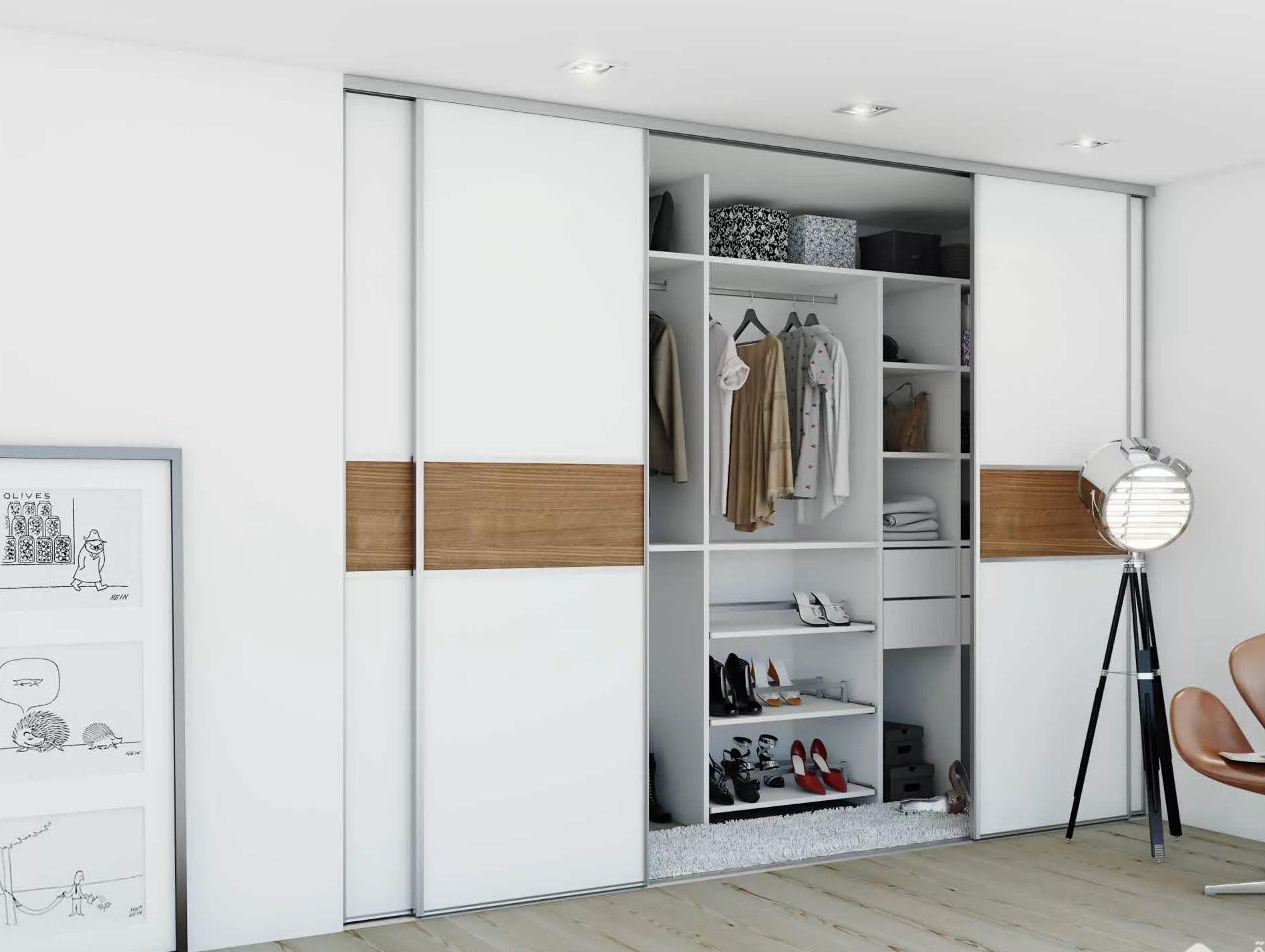 Mẫu thiết kế phòng ngủ có tủ thay đồ cửa trượt màu sắc đơn giản