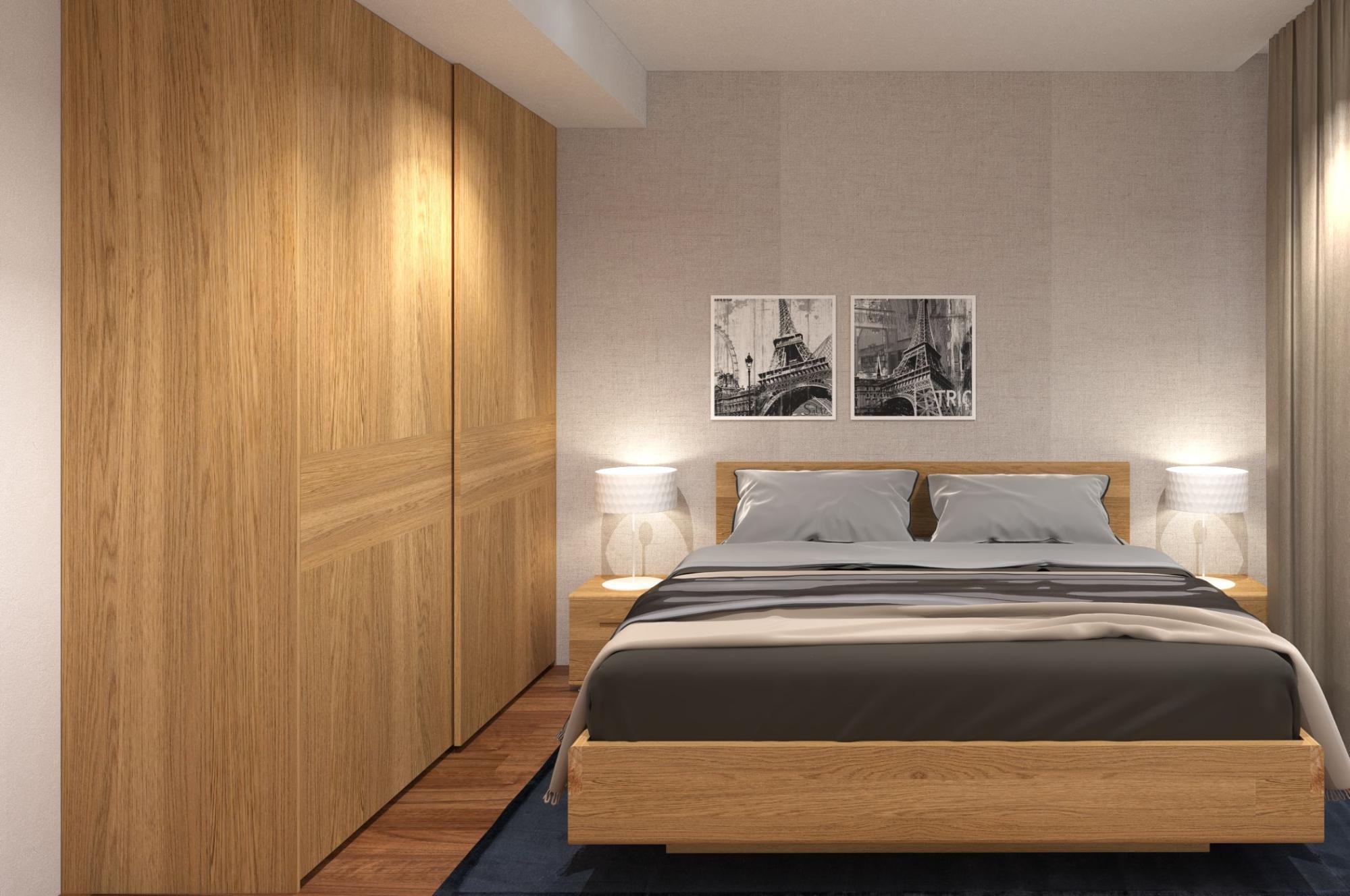 Mẫu thiết kế phòng ngủ kết hợp phòng thay đồ với thiết kế tủ gỗ