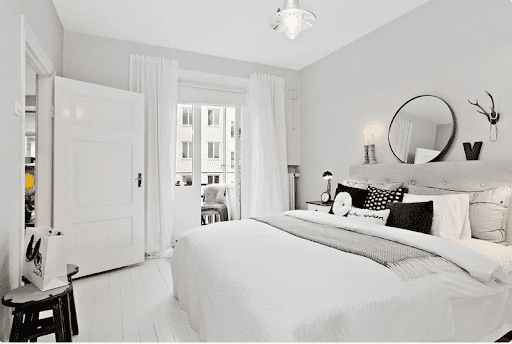 bộ nội thất phòng ngủ màu trắng