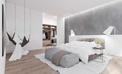 phòng ngủ màu trắng sang trọng