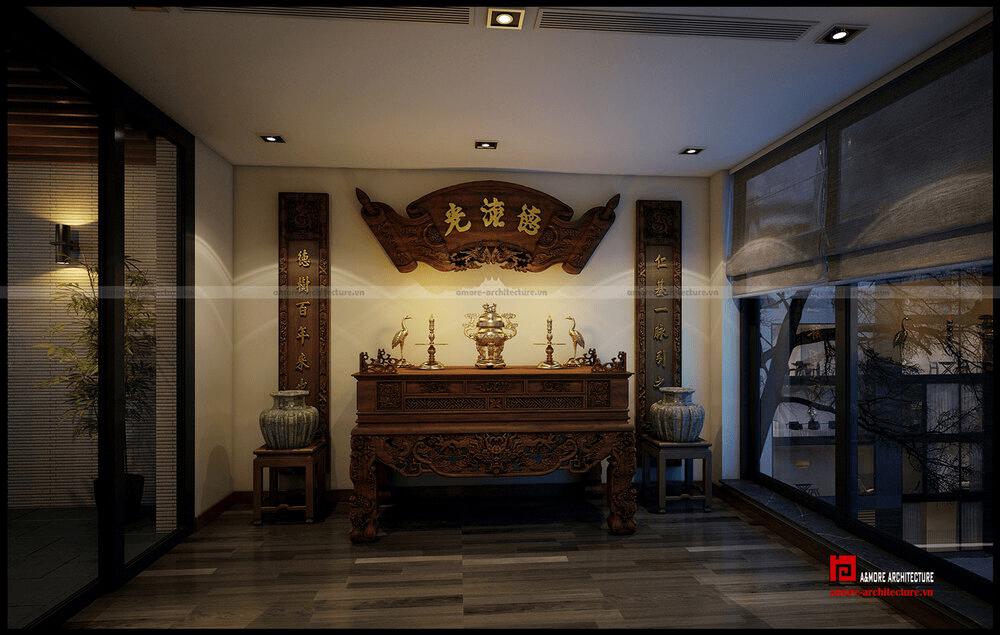phòng thờ cạnh cầu thang