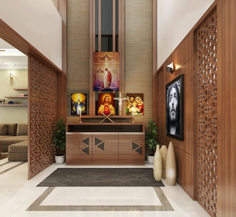thiết kế bàn thờ chúa trong phòng khách