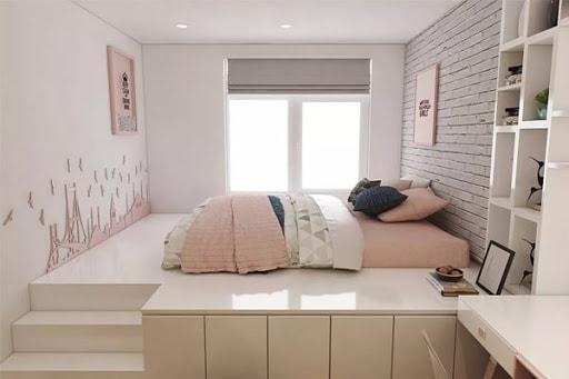 phòng ngủ sát ban công không giường