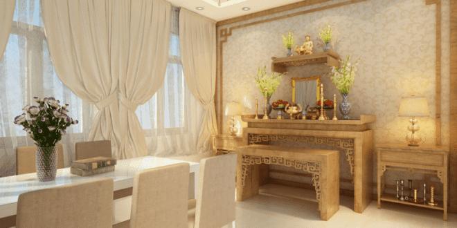 thiết kế phòng khách chung cư có bàn thờ