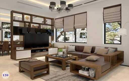 trang trí phòng khách với bộ bàn ghế gỗ