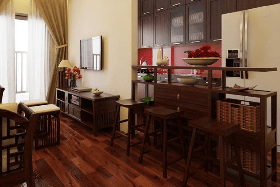 mẫu trang trí phòng khách bằng gỗ