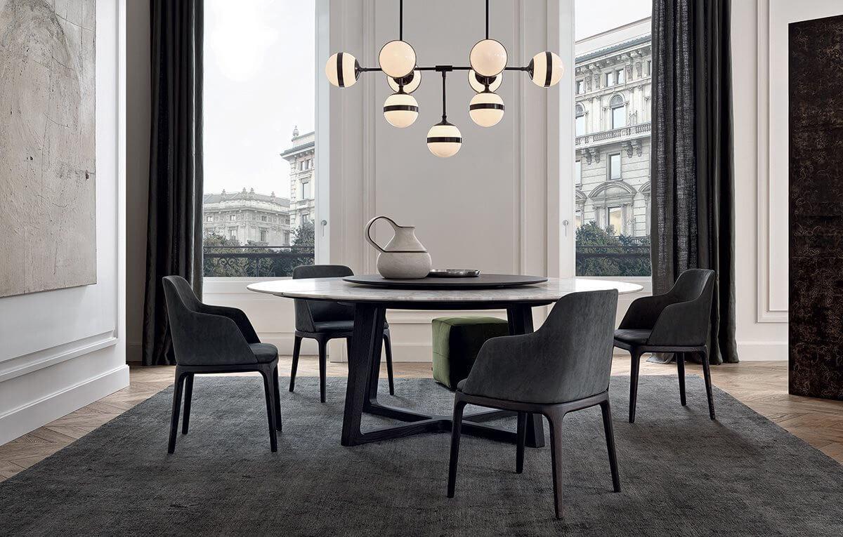 Thiết kế bàn ăn theo hình tròn tạo cảm giác thoải mái
