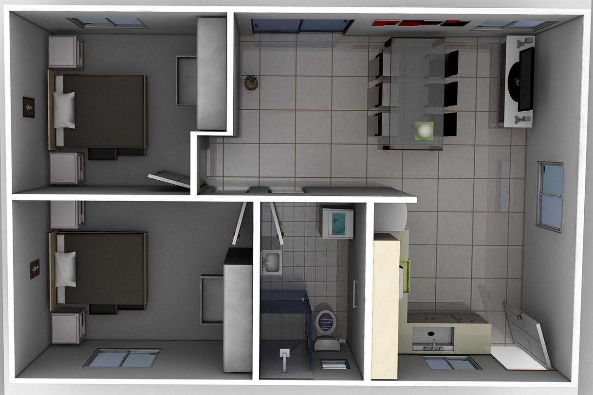 2. Thiết kế căn hộ 30m2 2 phòng ngủ