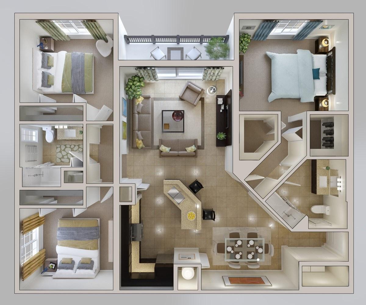 Thiết kế căn hộ 120m2 3 phòng ngủ