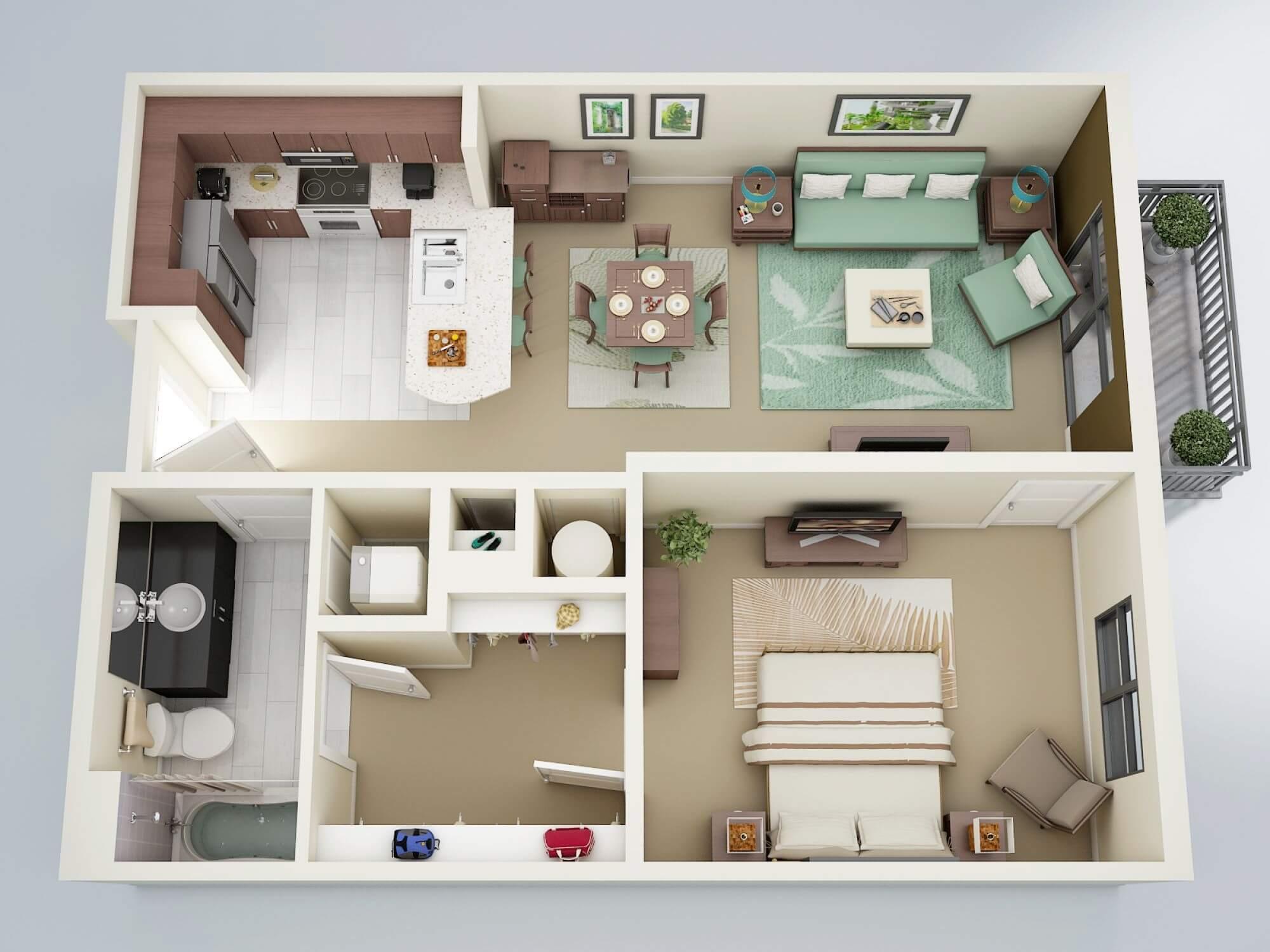 nội thất chung cư 45m2